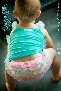Kaiya Eve Pink Rainbow Ruffle Diaper Cover