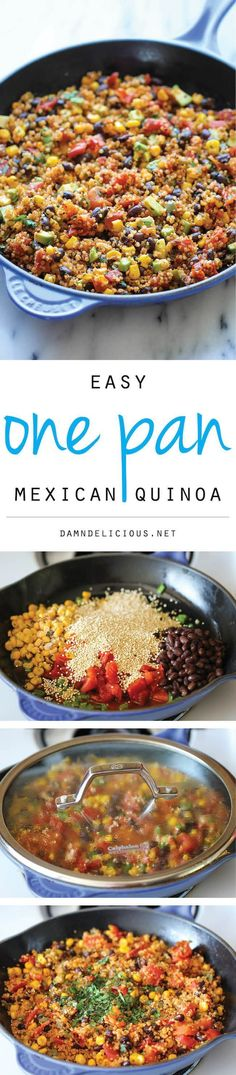 One Pan Mexican Quinoa: wonderfully light, healthy and nutritious - it's so easy to make, even the quinoa is cooked right in the pan.