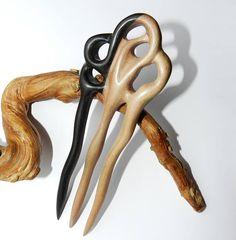 Wooden hair fork Hand carved hair fork Hair Accessory ebony