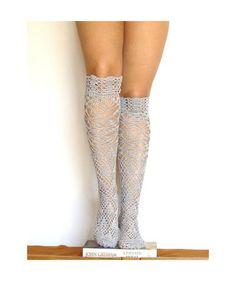 Lace high knee socks