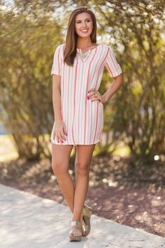 """""""Go For A Stroll Dress, Coral""""This preppy spring dress is so classy! We love those coral and white stripes! This dress is perfect for taking a stroll through a beautiful park with special someone! #newarrivals #shopthemint"""
