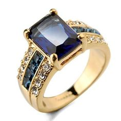Blue Fashion Square Zircon Inlaid Four Claw 18K Rose Gold Ring