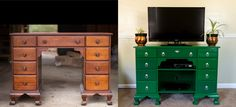 Antique Desk as TV Stand - Me and Mahlon converted this awesome 1940's desk into an eye-catching, emerald green entertainment center! We changed (and painted) the hardware, added an escutcheon, and built shelves (With added fancy trim!) to hold our electronics. Now to decorate that big empty wall around it!
