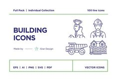 Building and Construction Icons Set by iStar Design Bureau on @creativemarket