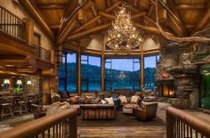 Tony Stewart's Columbus Indiana Log Home - Hidden Hollow. The Great Room over looking the 8acre lake.