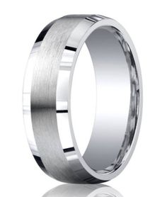 Benchmark Men's Argentium Silver Comfort Fit Wedding Ring with Satin Finish and Polished Beveled Edges Mens Wedding Rings Platinum, Black Wedding Rings, Silver Wedding Bands, Wedding Ring Bands, Tungsten Mens Rings, Tungsten Wedding Rings, Men's Jewelry Store, Cool Rings For Men, Silver Skull Ring