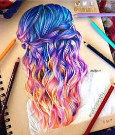 How amazing is this drawing of one of my hairstyles by @yuanyangty?! I used to do a lot of Prismacolor drawings when I was in high school. Love this!