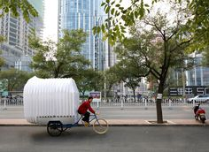 Many Chinese people can not afford to buy land to build a house in the huge, expensive and over-populated cities. Design studio People's Architecture Office (PAO) came up with a solution — a mobile accordion house that can be taken everywhere by means of a bike.