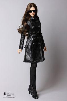 SID-W/YID-G Black Leather Coat