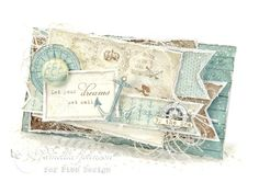 "Hello Everyone! I'm back today with another beach card featuring the wonderful collection "" Legends of the Sea "" by Pion Design. Vintage Cards, Vintage Paper, Legend Of The Seas, Masculine Cards, Masculine Style, Nautical Cards, Beach Cards, Calling Cards, Set Sail"