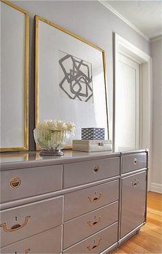 vignette styling gray painted chest oversized gold framed art