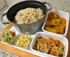 常備菜 *炊き込みご飯 *牛蒡と蓮根、人参のきんぴら *タルタルソース *トマトとキュウリの和え物 *カボチャの煮物
