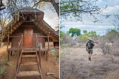 Left: our homes for three nights. Each A-frame sleeps two and there are four in total. If you don't completely book out the walk with eight people, you could bunk with people you don't know. Right: on all walks you are accompanied by two experienced rangers equipped with rifles. Photo by Melanie van Zyl.