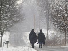 Amish walking in the snow...