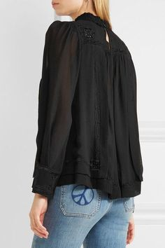 Isabel Marant - Maeva Embroidered Silk-georgette Turtleneck Blouse - Black - FR42