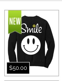 33a1f4aef736 Super-soft crew-neck charcoal sweatshirt with Smile graphics on front. As  seen