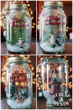 Glass Jar Snow Globes