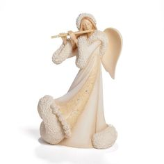Enesco Foundations Gift Christmas Angel Playing Flute Figurine, 7.68-Inch => SPECIAL OFFER AHEAD! : Collectible Figurines for Christmas