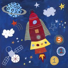 """Do a """"Space"""" theme art unit with early grades inspired by this print from Lesley Grainger."""