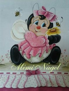 Joaninhas Baby Art, Tole Painting, Fall Halloween, Ladybug, Halloween Decorations, Minnie Mouse, Bee, Snoopy, Embroidery