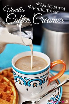 All-Natural Homemade Vanilla Coffee Creamer ~ 4 ingredients and 5 minutes for preservative-free creamer | FiveHeartHome.com
