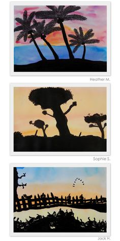 The New Hope Art Gallery: Middle School Art: Watercolor and Ink Silhouettes: Wet on Wet Watercolor with ink/acrylic paint silhouette