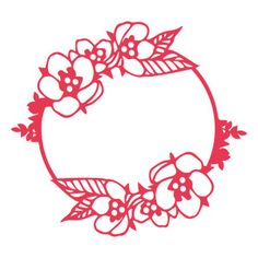 Silhouette Design Store: flowers leaves round frame