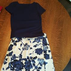 Skirt set Skirt set talbots matching blue floral skirt and sweater. Talbots Skirts Skirt Sets