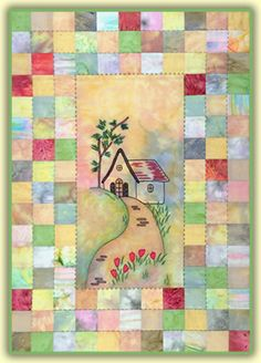 Hill Cottage quilt pattern with pieced border. Reminds me of Mary Engelbreit house. Patchwork Quilt, Applique Quilts, Small Quilts, Mini Quilts, Quilting Projects, Quilting Designs, Quilting Ideas, Patch Aplique, Quilt Border