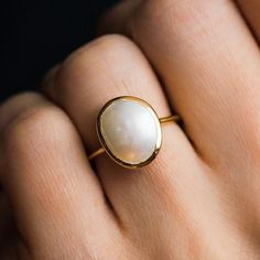 bridal ring set,split shank band,curved U diamond wedding bands,solid rose gold ring half eternity matching band,promise ring set - Fine Jewelry Ideas - Simple Semi Precious Pearl Ring - Rose Gold Engagement Ring, Diamond Wedding Rings, Engagement Ring Settings, Bridal Rings, Vintage Engagement Rings, Vintage Rings, Bridal Jewelry, Pearl Wedding Rings, Morganite Engagement
