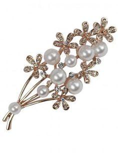 Dahlia Women's Brooch Pin - Elegant Faux Pearl Rhinestone Bouquet