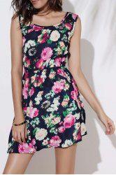 Stylish Scoop Collar Sleeveless Floral Print A-Line Chiffon Women's Dress