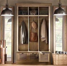 Restoration Hardware, mud room with 'Prismatic Glass Copper Pendant' Entry Lockers, Garage Entry, Entry Hall, Front Entry, Garage Lockers, Mudroom Cubbies, Mudroom Cabinets, Front Hallway, Front Doors
