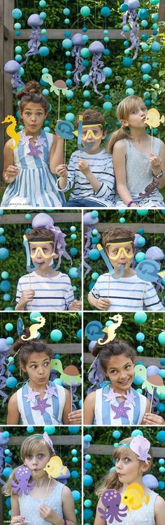 Fun Party Themes for Kids | Under the Sea Photo Backdrop Party Props by DIY Ready at http://diyready.com/best-kids-party-ideas/