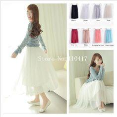 Newest Cute Stylish Lady/Women's Lace 3 Layers Long Maxi Skirt Elastic Waist Mesh Skirt Free Shipping