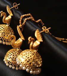 Buy Gorgeous designer matte finish peacock necklace set necklace-set online