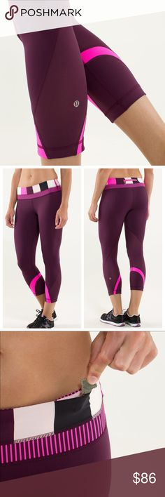 Lululemon Inspire Crops-Plum/Pow Stripe/Rasp Glow Run:Inspire Crop II in Plum/Pow Stripe Raspberry Glo Light/Hyper Stripe Raspberry Glo! Such a cute color palette! No longer sold by Lululemon! My fav style of running tights--made out of lululemon's Luxtreme fabric, with Circle Mesh panels that wrap around back of legs to offer ventilation and style. Gently worn and in excellent condition. Back zippered pocket. Waistband has continuous drawcord and two hidden drop-in pockets. These feel and…