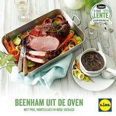 Recept voor beenham uit de oven met prei, worteltjes en rode-uienjus #Lente bij #Lidl #hoofdgerecht