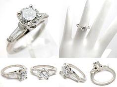 Eco Friendly Estate Engagement Ring Diamond Solitaire w/ Baguette Accents Solid Platinum - EraGem