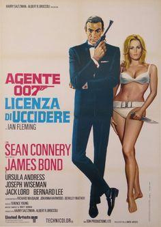 NO Italian poster James Bond 007 Ursula Andress Sean Connery Doctor Sean Connery James Bond, James Bond Girls, James Bond Movie Posters, James Bond Movies, Film Posters, Ursula Andress, Casino Royale, Zena Marshall, Timothy Dalton