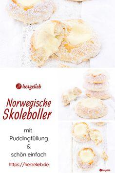 Kuchen Rezepte, Norwegen Rezepte: Rezept für Skoleboller, pai , sånn med gul i midten, Lørdagsgodt , Gulebolle, Tolvøres oder Pansergranater von herzelieb. Man kann nie genug Brötchen Rezepte haben. Saftige und luftige Brötchen mit einem Herz aus Pudding und Kokos zum Frühstück, für die Schule und das Büro oder zum Kaffee. #herzelieb #kuchen #brötchen Pudding, Breakfast, Food, Food Food, Bakken, Simple, Recipes, Morning Coffee, Eten