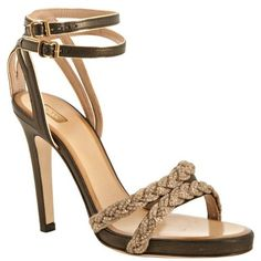 Chloe Black And Gold Metallic Leather Braided Heeled Sandals ($499) ❤ liked on Polyvore