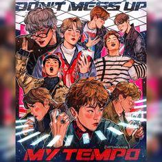Pin od 궁수 자리 い て 座 na exo - exol exo, fan art i tapety Chanyeol, Kpop Exo, Shinee, Exo Fanart, Exo Songs, Kai, Exo Anime, Kpop Posters, Kpop Drawings