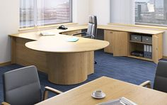 Large executive corner desk configuration with large meeting extension and matching desk height storage. Supplied with thick real wood veneer tops- all hand matched crown cut. L Shaped Executive Desk, Executive Office, Desk Height, Office Desks, Wood Veneer, Real Wood, Office Furniture, Corner Desk, Crown