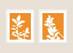 Botanical Digital Print Set Wall Art Home Decor Office Plant Leaf Orange Foliage Nectarine Tangerine. $33.00, via Etsy.