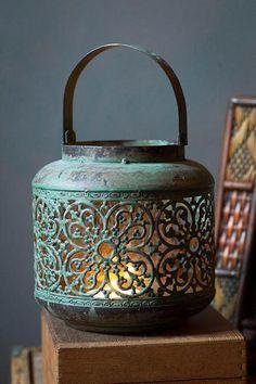 Vintage Metal Hong Kong Lantern - Lanterns with Glass hurricane by Vagabond Vintage Lantern Lamp, Lantern Candle Holders, Candle Lanterns, Rustic Lanterns, Vintage Lanterns, Garden Lanterns, Candleholders, Candlesticks, Décor Antique
