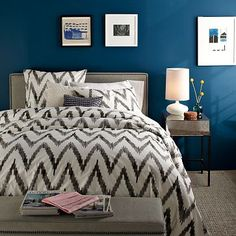 I already have Chevron in my bedroom bathroom in my accent pillows and bathroom rugs but I love this west Elm bedspread. I love it paired with the Peacock blue color too!