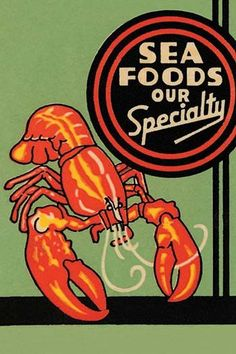 Matchbook cover featuring a lobster and promoting sea food at the establishment.