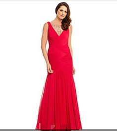 Adrianna Papell Gown NEW MERMAID ILLUSION JEWEL MOTHER BRIDE RUCHED 6 Evening