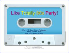 80s Party Invitation: print from free online templates